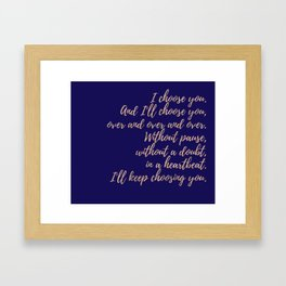 Wedding Quotes - Navy - Rose Gold Framed Art Print