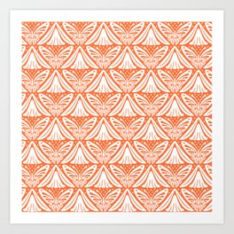 Butterfly and Flower Pattern Orange 2 Art Print