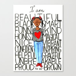 Proud to be brown (girl) Canvas Print