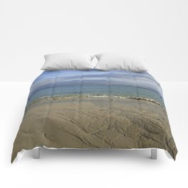 Patterns in the Sand with Blue Skies Above Comforters