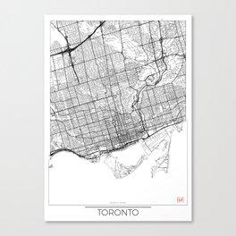 Toronto Map White Canvas Print