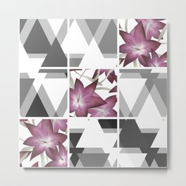 Pink lilies on grey triangles . Metal Print