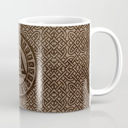 Valknut Symbol and Runes on Celtic Pattern on Wood Coffee Mug