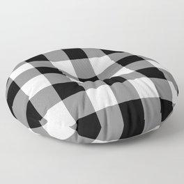 Black and White Buffalo Plaid Floor Pillow