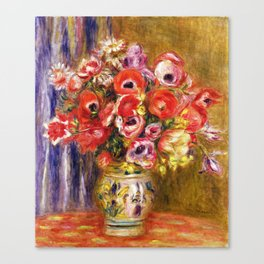 Auguste Renoir  -  Vase Of Tulips And Anemones Canvas Print