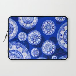 Deepest Blue Floating Vintage Boho Mandala Print Laptop Sleeve