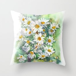 Watercolor chamomile white flowers Throw Pillow
