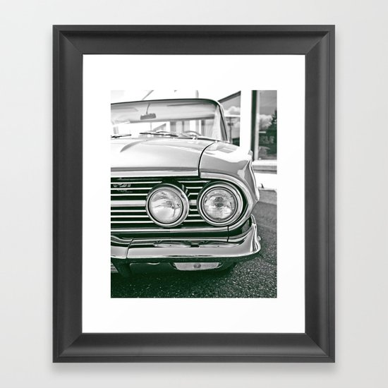 Chevy headlights Framed Art Print