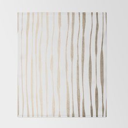 White Gold Sands Ink Pinstripes Throw Blanket