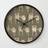 finn and jake Wall Clocks featuring Finn & Jake by Laela's Heart