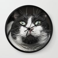 kitty Wall Clocks featuring Kitty Cat by Joao Bizarro