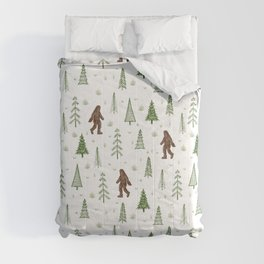 trees + yeti pattern in color Comforters