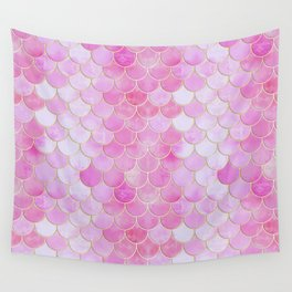 Pink Pearlescent Mermaid Scales Pattern Wall Tapestry