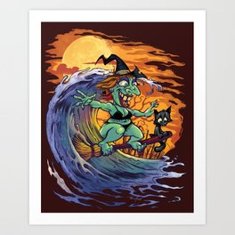 Witch At The Beach Art Print