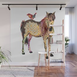 Horse_Bird Pattern_Animal Illustration Wall Mural
