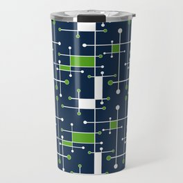 Intersecting Lines in Navy, Lime and White Travel Mug
