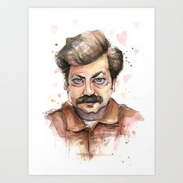 Ron Swanson Love Valentine Portrait Art Print