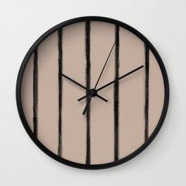 Skinny Strokes Gapped Vertical Black on Nude Wall Clock