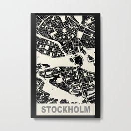 Stockholm, Sweden, city map, Black Metal Print