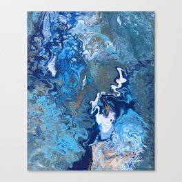 Undercurrent - Blue Wavy Ocean Abstract Fluid Art Canvas Print
