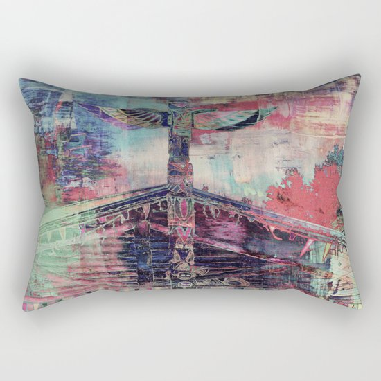 Totem Cabin Abstract - Multi Rectangular Pillow