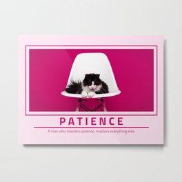 Patience - Cute Cat in Chair Metal Print