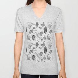 Black and White Australian Native Flowers Unisex V-Neck