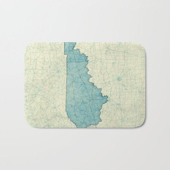 Kentucky State Map Blue Vintage Bath Mat