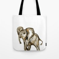 baby elephant Tote Bags featuring Baby Elephant by a collection. James Peart