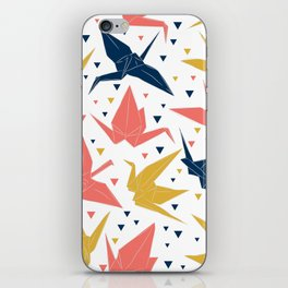 Japanese Origami paper cranes, symbol of happiness, luck and longevity, blue coral mustard iPhone Skin