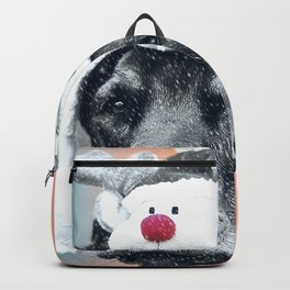 Dog in a Reindeer Hat Backpack