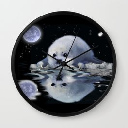 Destiny - Harp Seal Pup & Ice Floe Wall Clock