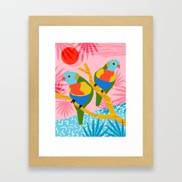 Besties - retro throwback memphis bird art pattern bright neon pop art abstract 1980s 80s style mini Framed Art Print