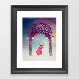 Fox in the Forest Framed Art Print