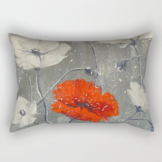 White and red poppies Rectangular Pillow