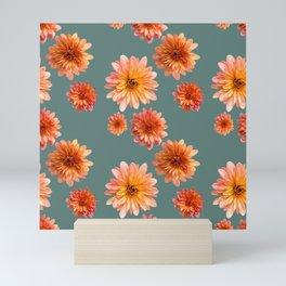 Coral Mum Floral Pattern - Scattered Flowers on Teal - Chrysanthemum Bloom Pattern - Real Flowers Mini Art Print