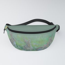 RABBITS IN A SPRING MEADOW Wildlife pastel drawing Fanny Pack