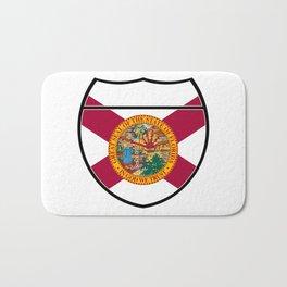 Florida Flag In An Interstate Sign Bath Mat