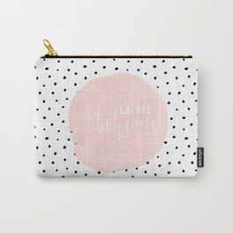La Vie Boheme !Black Polka dots on white  and pink Typography on #Society6 Carry-All Pouch