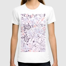 Hand painted modern pink lavender watercolor floral T-shirt