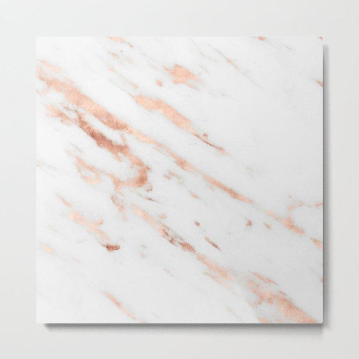 Rose Quartz Foil on Real White Marble Metal Print