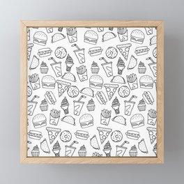 Fast Food Monoline Doodles Framed Mini Art Print