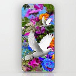 White Doves in Blue & Purple Garden iPhone Skin