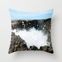 puerto rico Throw Pillows featuring Pozo de Jacinto, Isabela Puerto Rico by Silmagerie