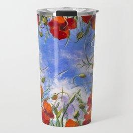 Red flowers poppies poppy flower landscape sping floral field in grass in shape of heart backgroud Travel Mug