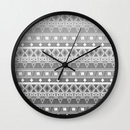 black and white pattern, geometric pattern, gradint, gray striped Wall Clock