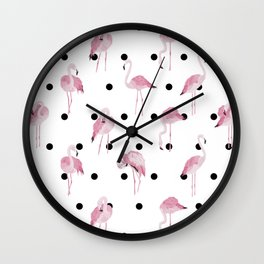 Flamingo pattern with black polka dots Wall Clock