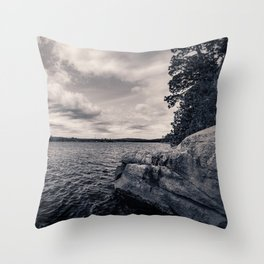 Black and White Boundary Waters Lake Throw Pillow