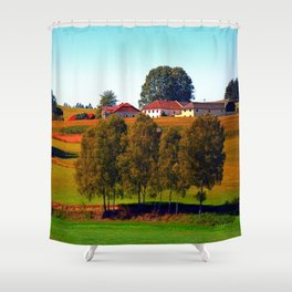 Guardian trees in front of a farm Shower Curtain