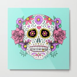 Sugar Skull with Flowers on Turquoise Metal Print
